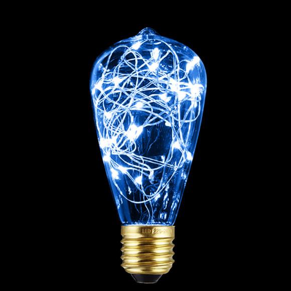 Dekoračná LED žiarovka EDISON, E27, 150lm, Teardrop, Modrá