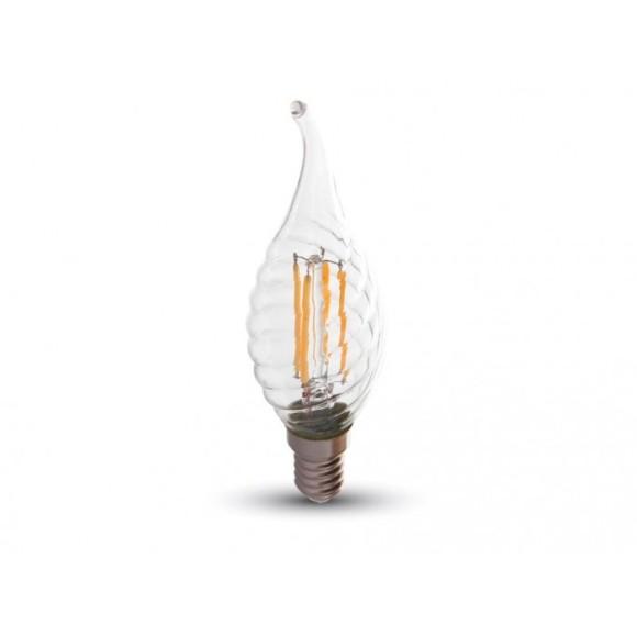 FILAMENT žiarovka - DECOR CANDLE - E14, Teplá biela, 4W, 400lm, V-TAC