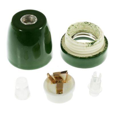 Kvalitná porcelánová objímka E27 • zelená (1)