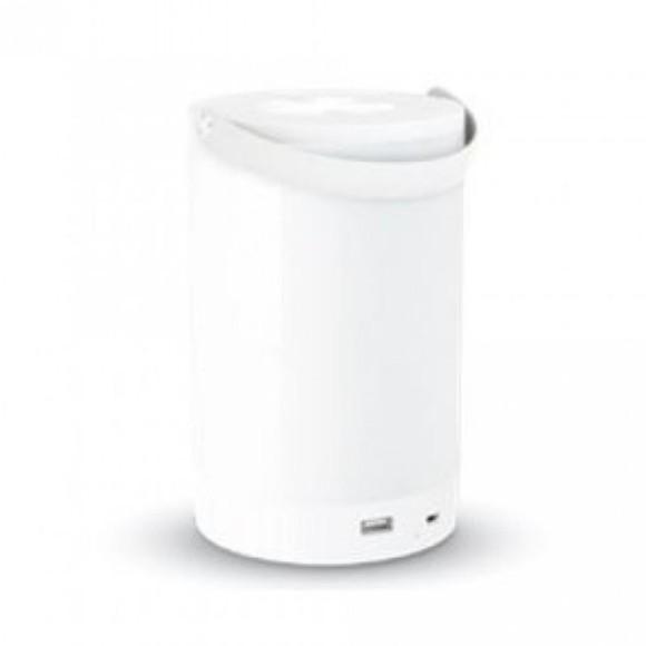 LED dotyková stmievateľná lampa so vstavanou batériou a funkciou power bank, drevo, 4000K, biela farba
