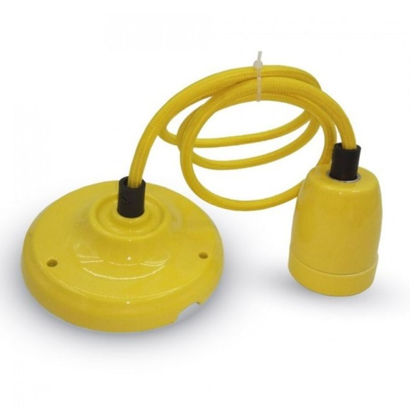 Porcelánové závesné svietidlo v žltej farbe
