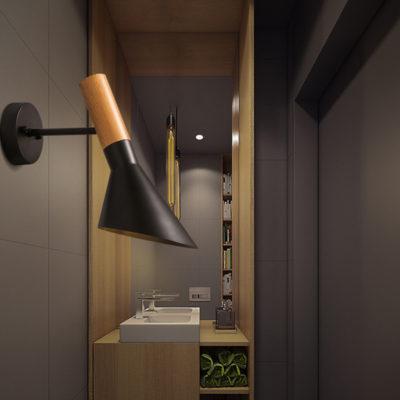 Elegantné nástenné svietidlo Nordic v čiernej farbe kombinuje kvalitný kov s prírodným dreveným materiálom3