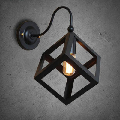 Kreatívne retro nástenné svietidlo v štýle kocky4