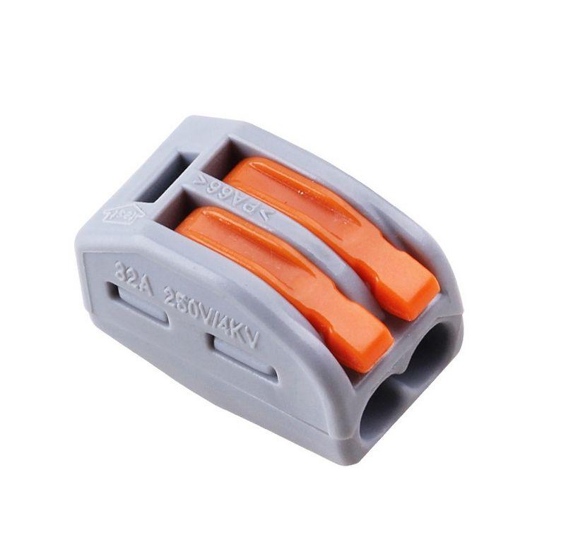 Lustrová svorka - dvojpólová. Testované v zhode s EN 60998 normou. Terminál (spojka) bez skrutiek pre spájanie elektrických káblov