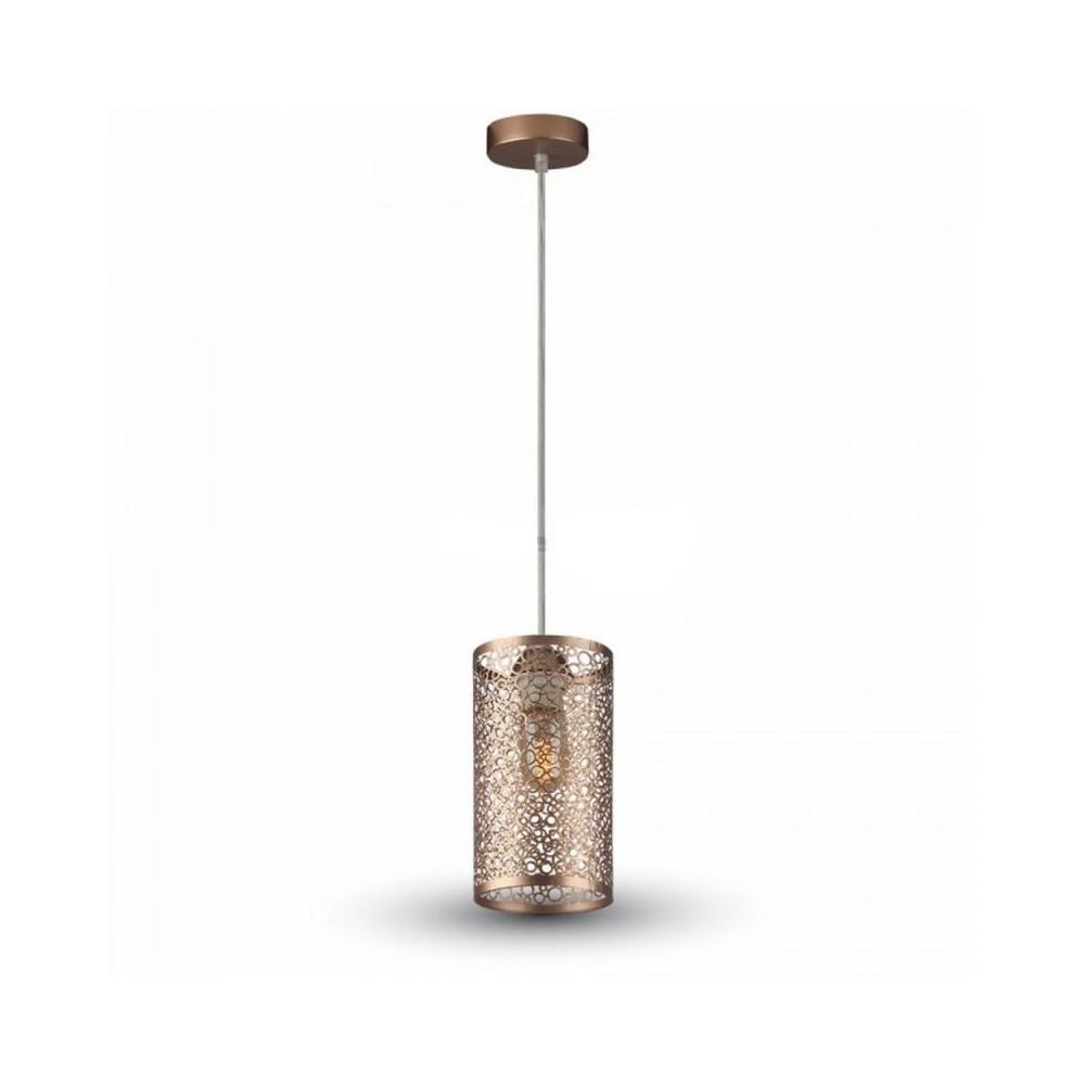 Závesné retro svietidlo Cylinder v zlatej farbe