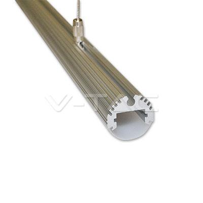 Hliníkový profil pre LED pás, Okrúhly, Matný kryt, dve šnúry na zavesenie, 1 meter