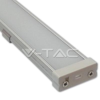 Hliníkový profil pre LED pás, Široký plochý uzáver, Matný, 1 meter