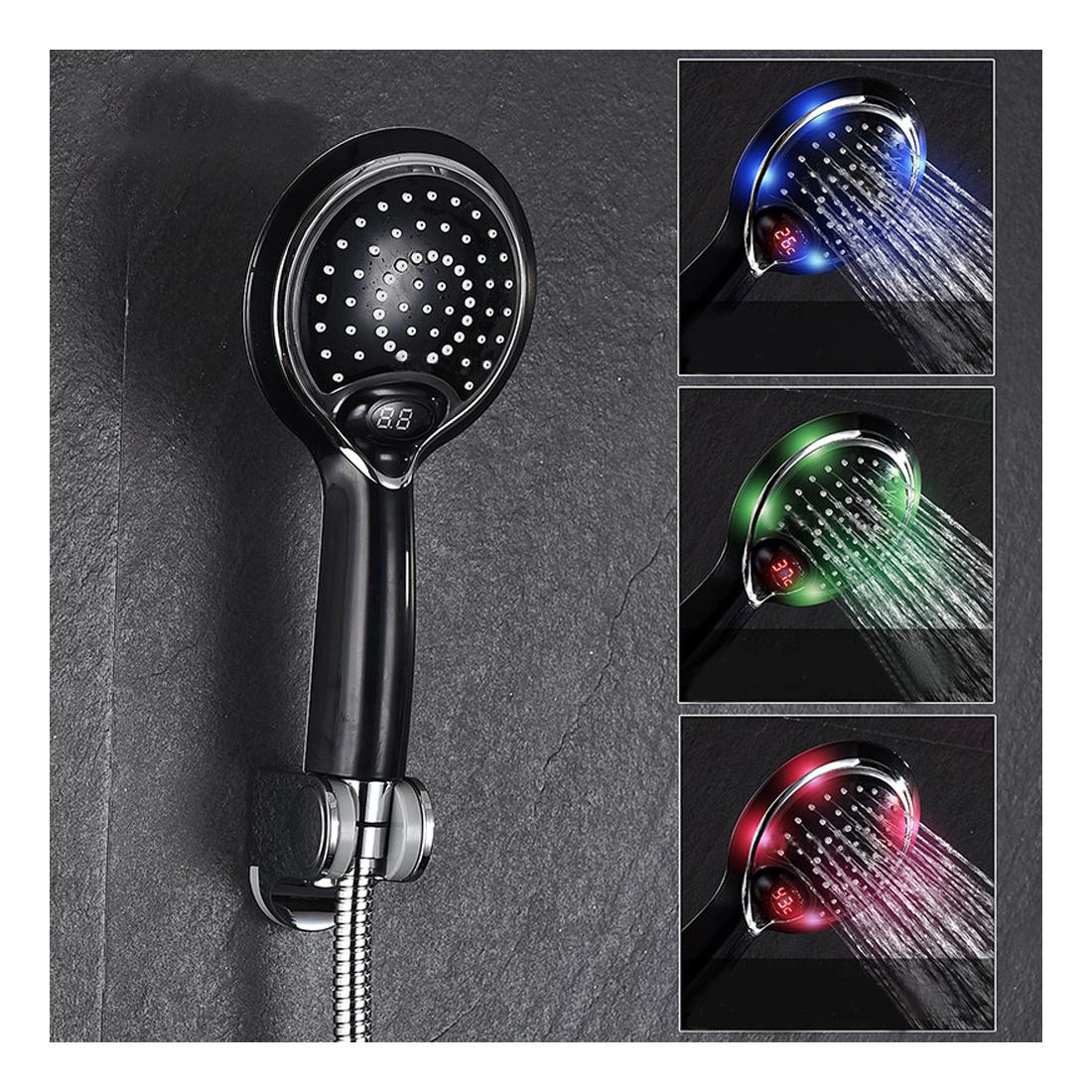 LED Sprchová hlavica s digitálnym teplomerom, 3 farby, čierna farba