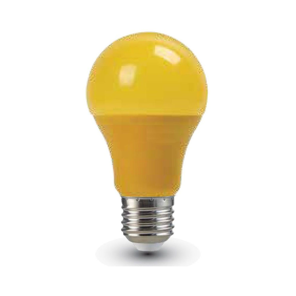LED žiarovka s farebným krytom - E27, 9W, Žltá farba, 806lm. Je vhodná na osvetlenieinteriéru, chodby, obývačky, jedálne, kuchyne...