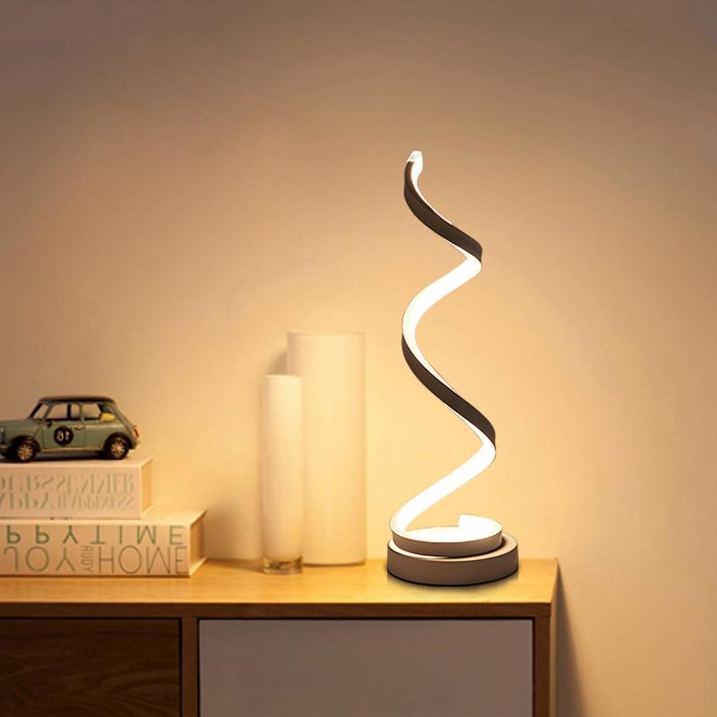 Moderná LED stolová lampa ŠPIRÁLA v zlatej farbe s LED pásom
