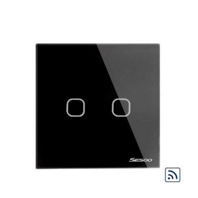 SESOO dotykový vypínač č.1 v čiernom prevedení s možnosťou diaľkového ovládania. Používa sa na ovládanie svetla pomocou jednoduchého dotyku (2)