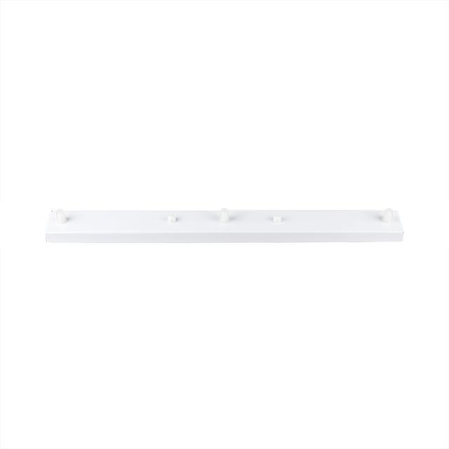 Stropný obdĺžnikový držiak na 3 svietidlá, kovový, 3 pätice, biela farba