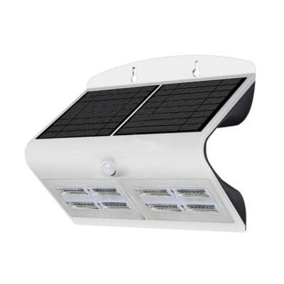 LED solárne nástenné svietidlo v bielej farbe, Denná biela, 6.8W, IP65, 800lm