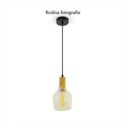 Sklenené závesné svietidlo CONTAINER s drevenou dekoračnou päticou. Svietidlo retro so skleneným tienidlom