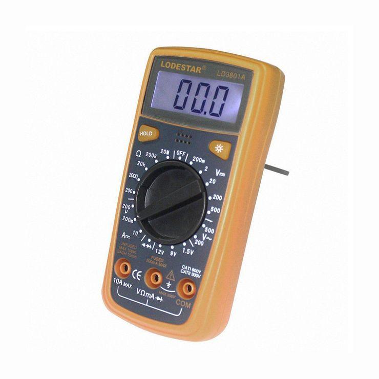 Digitálny multimeter s LED podsvietením - LODESTAR. Univerzálny digitálny MultiMeter s LED podsvietením. Elektrický tester odporu, Prudové napätie, Kapacitant, Diagnostický prístroj. (3)