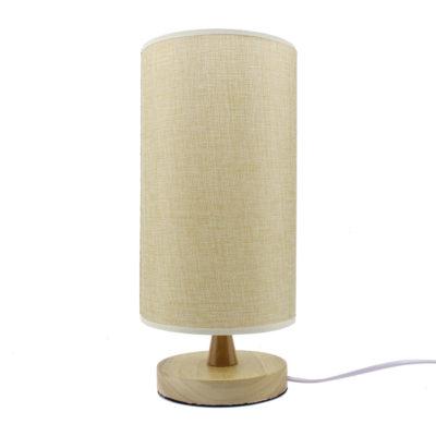 Krásna stolová lampa s tienidlom vyrobená z dreva so stmievačom (5)