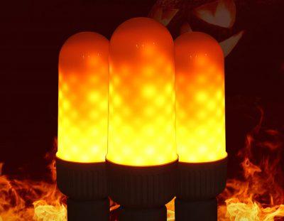 LED žiarovka s naprogramovanými diódami, ktorých výsledný efekt pôsobí dojmom horiaceho plameňa, použitím svietidla s mliečnym sklom bude tento efekt dokonalý (3)