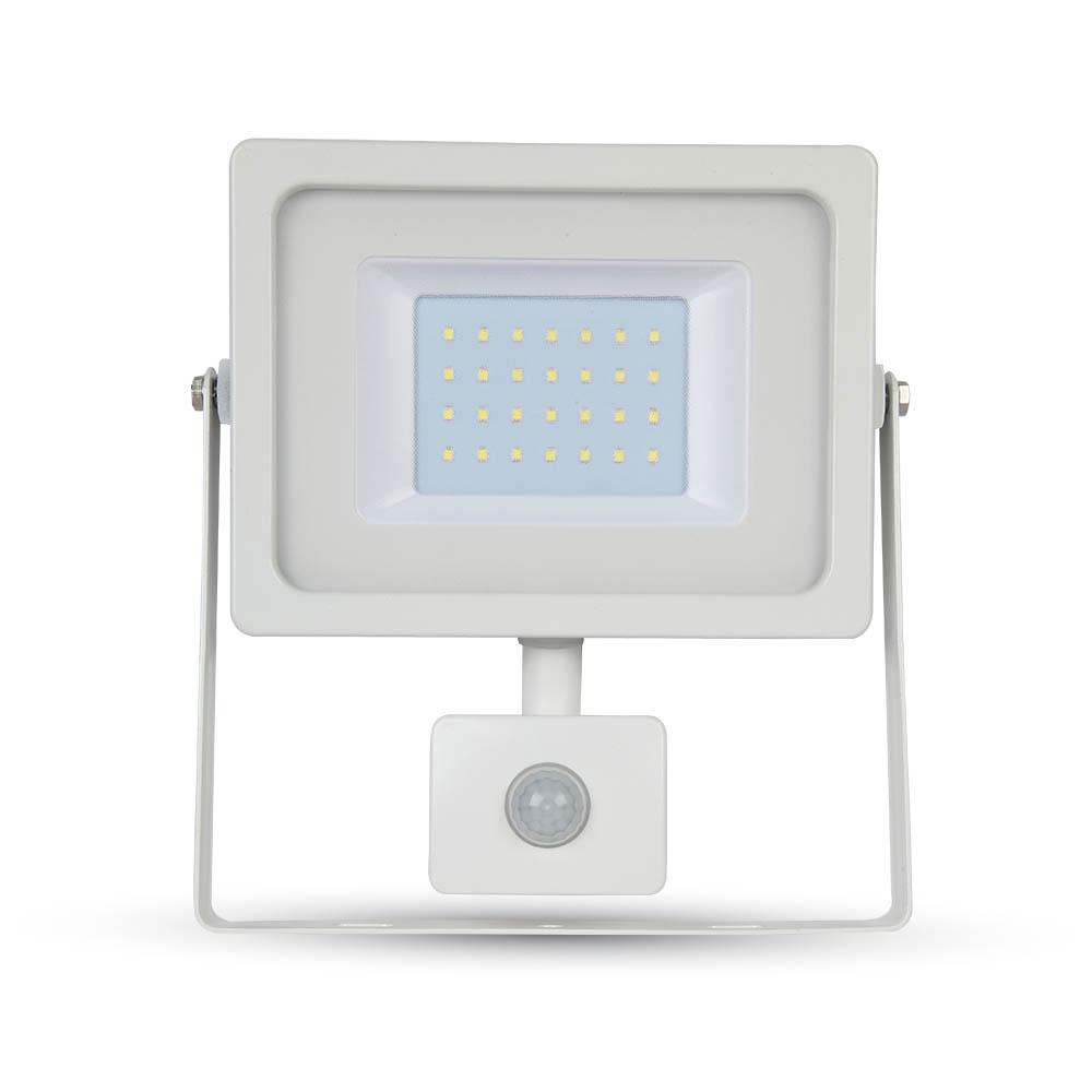 30W LED SMD Reflektor so senzorom pohybu, Denná biela, biely