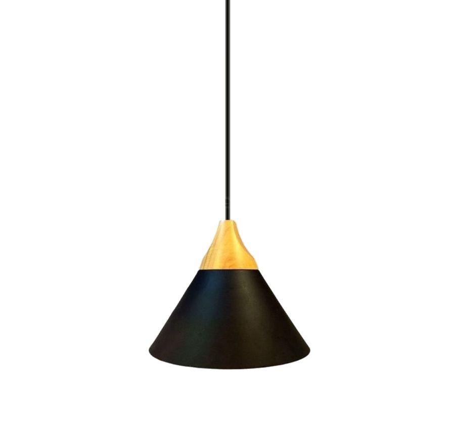 Hliníkové závesné svietidlo TOP s drevenou dekoračnou päticou, čierna farba