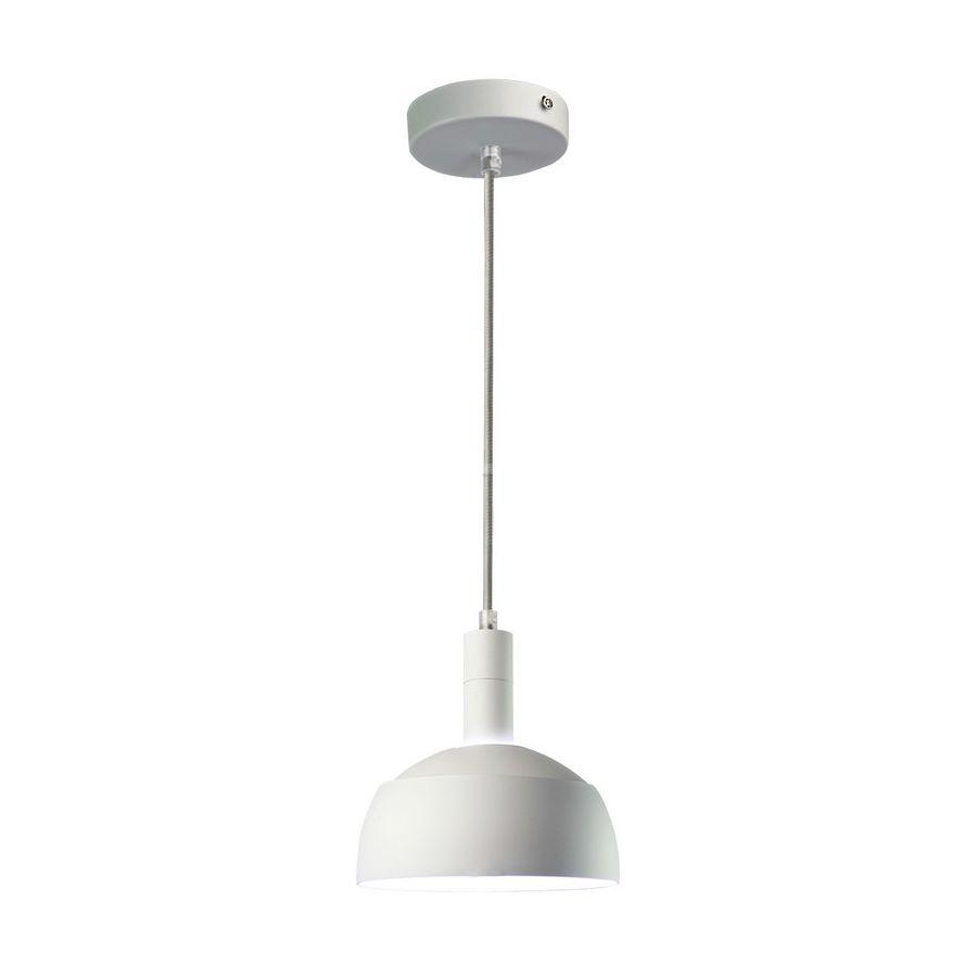 Plastové závesné svietidlo s mohutným tienidlom v bielej farbe