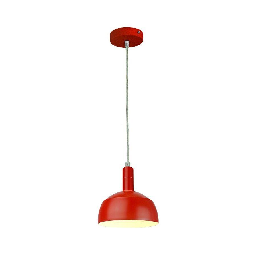 Plastové závesné svietidlo s tienidlom v červenej farbe