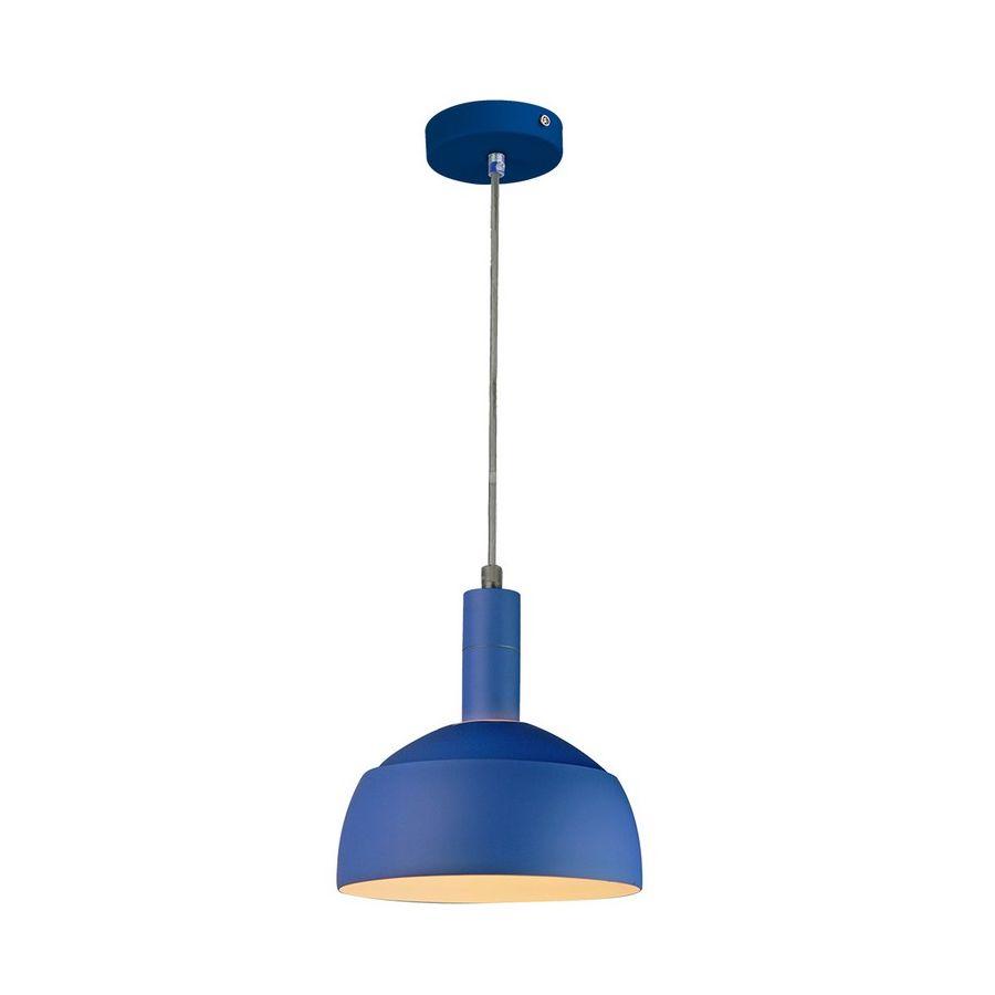Plastové závesné svietidlo s tienidlom v modrej farbe