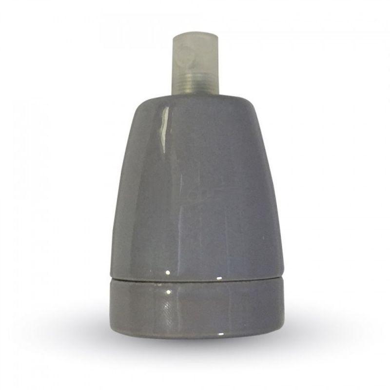 Porcelánová objímka E27 • šedá farba. Porcelánové kvalitnéobjímky v elegantnomštýle pre žiarovky s päticou E27