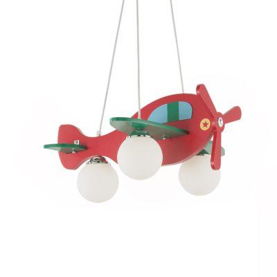 Detské závesné svietidlo z dreveného materiálu v červenej farbe | Ideal Lux