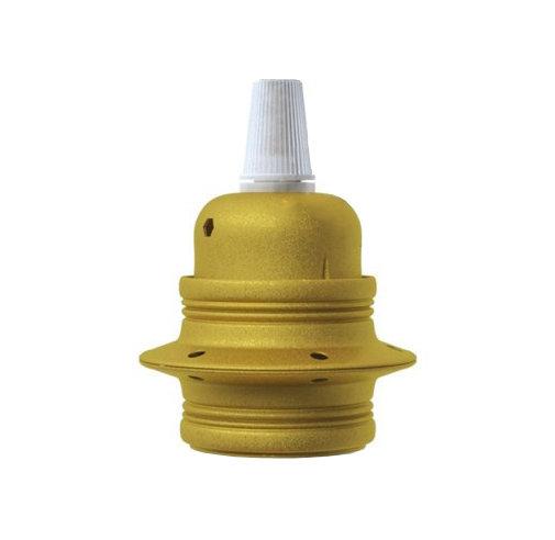 Kovová objímka E27 v metalickej žltej farbe