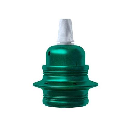 Kovová objímka E27 v metalickej zelenej farbe