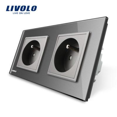 Luxusná dvojzásuvka s ochranným kolíkom v šedej farbe (1)