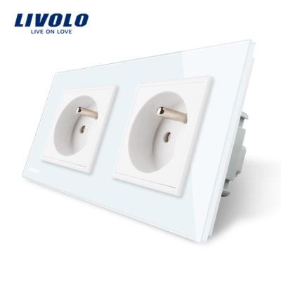 Luxusná dvojzásuvka s ochranným kolíkom v bielej farbe (1)