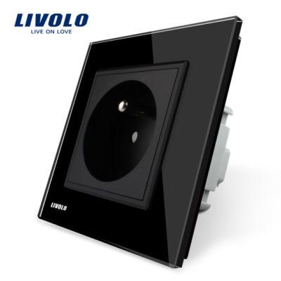 Luxusná zásuvka s ochranným kolíkom v čiernej farbe (2)