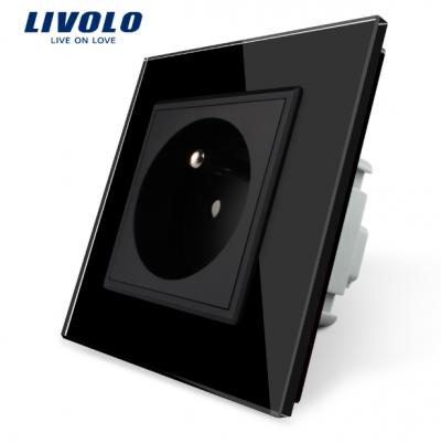 Luxusná zásuvka s ochranným kolíkom v čiernej farbe