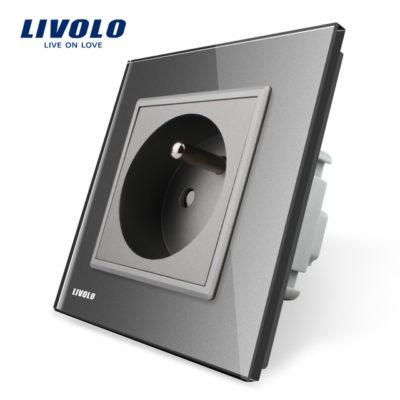 Luxusná zásuvka s ochranným kolíkom v šedej farbe (1)