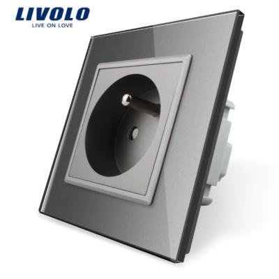 Luxusná zásuvka s ochranným kolíkom v šedej farbe