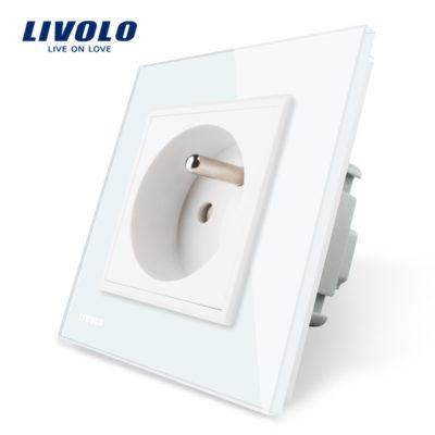 Luxusná zásuvka s ochranným kolíkom v bielej farbe (1)