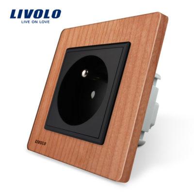 Luxusná zásuvka s ochranným kolíkom v prírodnom dreve (3)