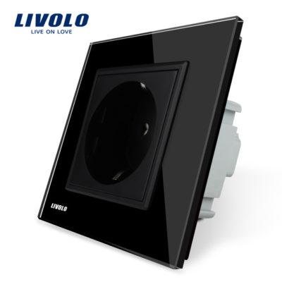 Luxusná zásuvka s ochranou typu SCHUKO v čiernej farbe (1)