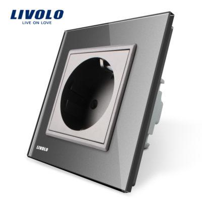 Luxusná zásuvka s ochranou typu SCHUKO v šedej farbe (3)