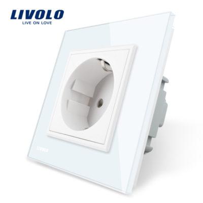 Luxusná zásuvka s ochranou typu SCHUKO v bielej farbe (1)
