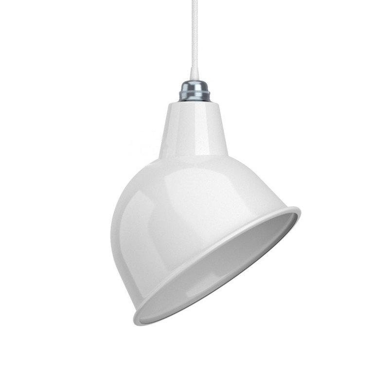Priemyselné kovové tienidlo v lesklej bielej farbe s bielym vnútrom, priemer 30cm (2)