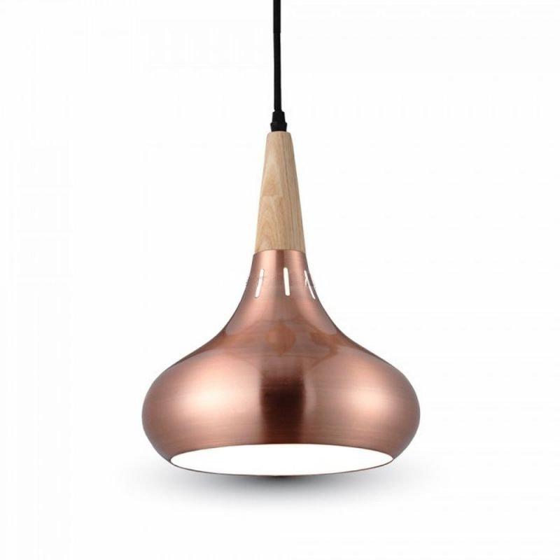Závesné svietidlo s dreveným držiakom, bronzové tienidlo, 26 cm