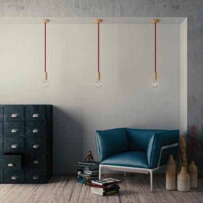 Elektrický trojžilový kábel v tvare lana, Ø 16MM, lesklá textília, 1 meter, červený (2)