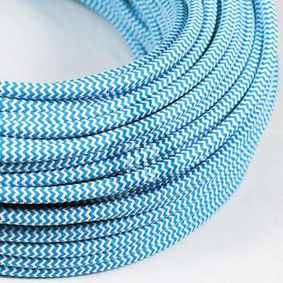 Kábel dvojžilový v podobe textilnej šnúry so vzorom BlueWhite, 2 x 0.75mm, 1 meter (2)