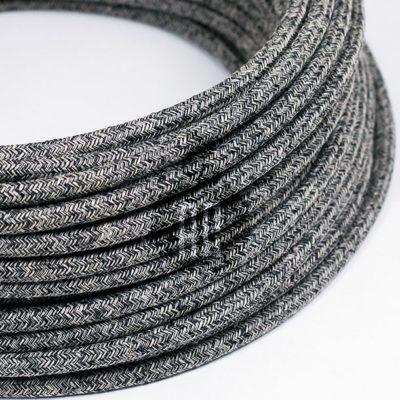 Kábel dvojžilový v podobe textilnej šnúry so vzorom, NeroLino, 2 x 0.75mm, 1 meter (2)