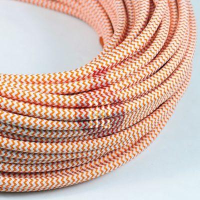 Kábel dvojžilový v podobe textilnej šnúry so vzorom WhiteOrange, 2 x 0.75mm, 1 meter (2)