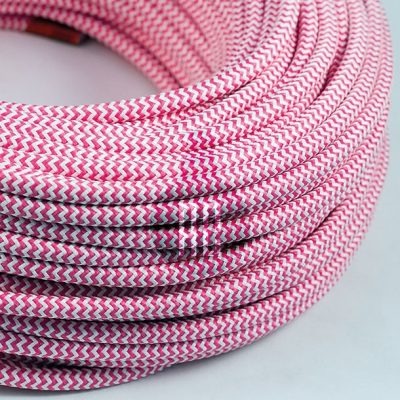 Kábel dvojžilový v podobe textilnej šnúry so vzorom WhitePink, 2 x 0.75mm, 1 meter (2)