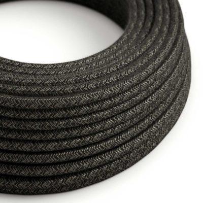 Kábel dvojžilový v podobe textilnej šnúry so vzorom, Nero/Lino, 2 x 0.75mm, 1 meter