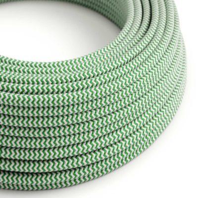Kábel dvojžilový v podobe textilnej šnúry so vzorom White/Green, 2 x 0.75mm, 1 meter